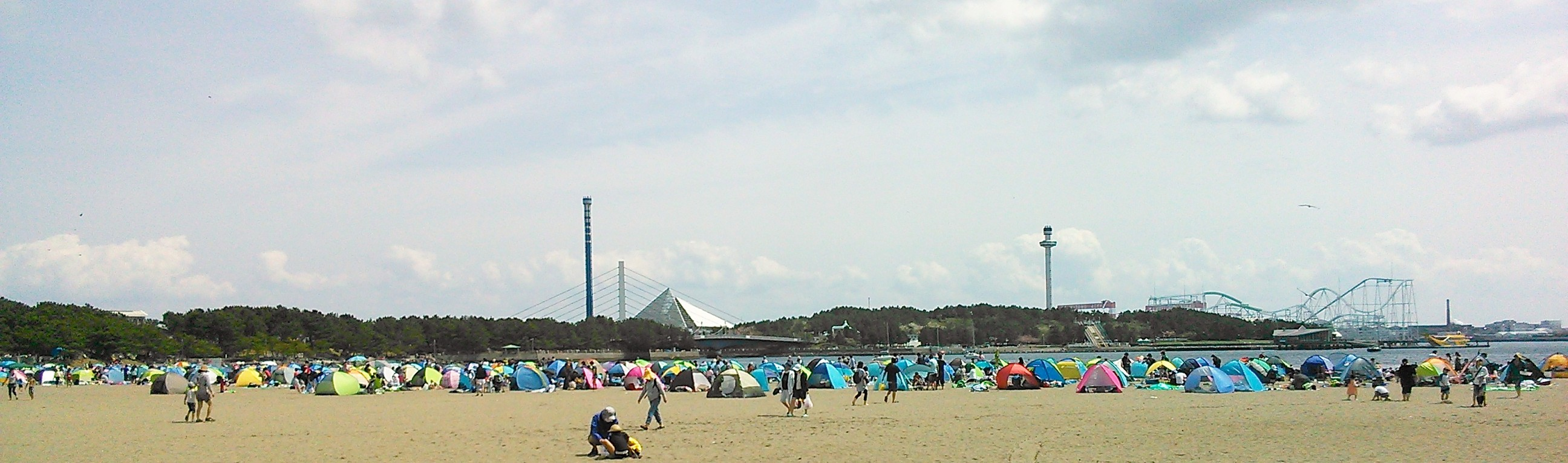 多くの人で賑わう海の公園