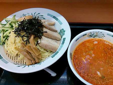 日高屋の塩麹つけ麺・ピリ辛とんこつ