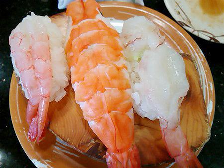 ジャンボおしどり寿司のエビ3種握り