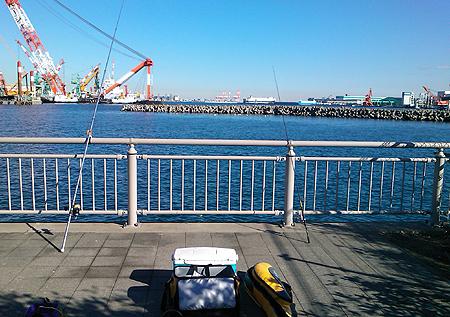 杉田臨海緑地での釣り座の風景