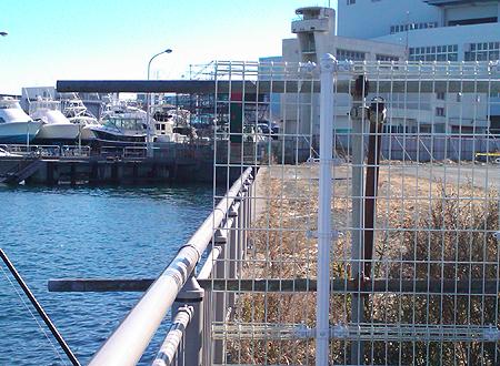 杉田臨海緑地で釣り座を構えた、釣り場右手最奥のフェンス際