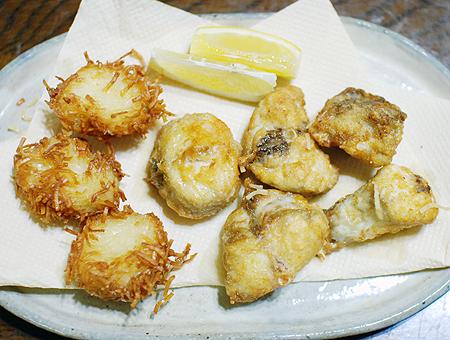 フグのから揚げと白身魚のシューマイ