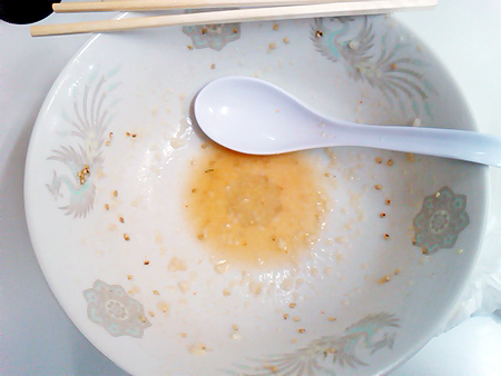 龍ちゃんの塩ラーメン(ごま)を完食&完飲