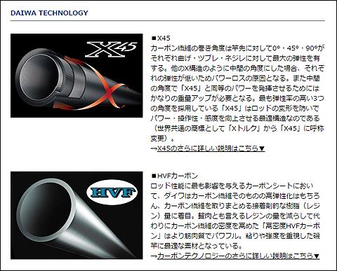 ダイワ「ジグキャスター MX 96M」のX45とHVFカーボンの説明