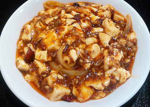 戸塚の中華料理店「栄海」の四川麻婆豆腐のアップ